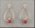 Bleeding Heart Earrings with Carnelian Beads