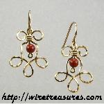 Loopy Earrings with Red Jasper Beads