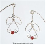 Angel Earrings with Carnelian Beads