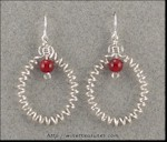 Curly Wire Earrings with Carnelian Beads